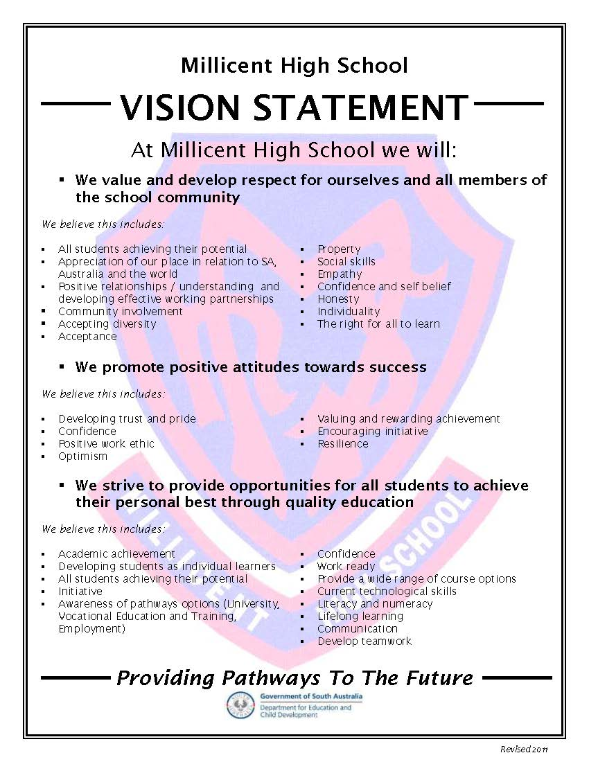 vision statement millicent high school